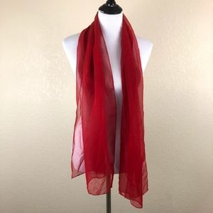 Sheer Solid Red Scarf